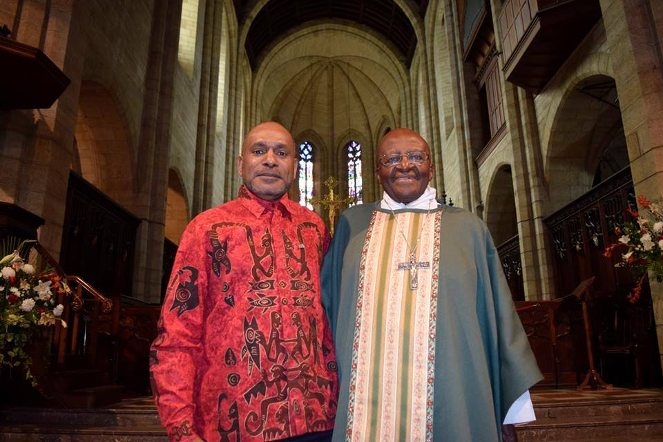 Benny Wenda met Archbishop Desmond Tutu in Cape Town, South Africa. November 2015