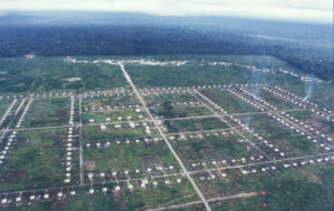 Indonesian transmigration camp cut into the forests of West Papua
