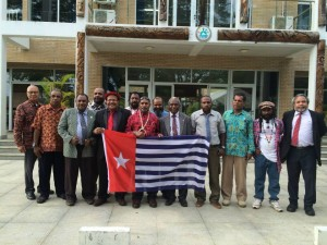 ULMWP delegates outside  the MSG Office in Port Vila, Vanuatu