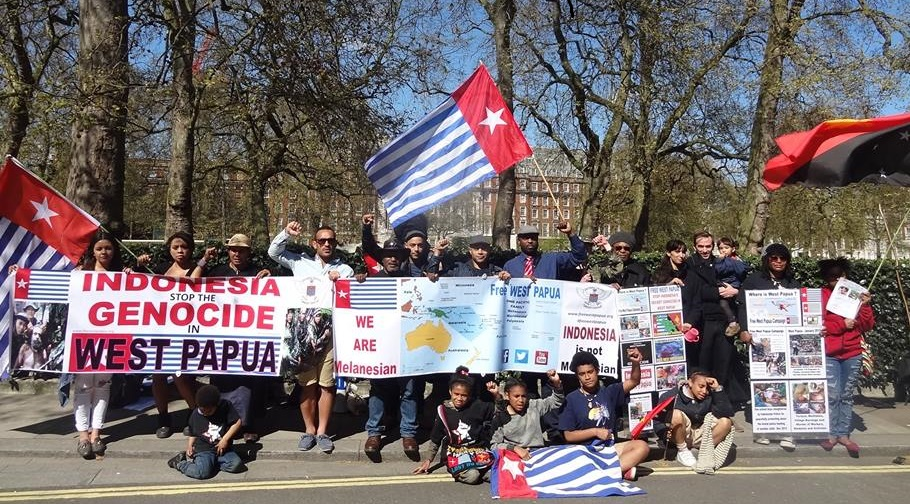 The Free West Papua protest held yesterday where the solidarity launching took place