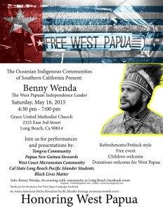 Benny Wenda will be at this event on May 16th ij California