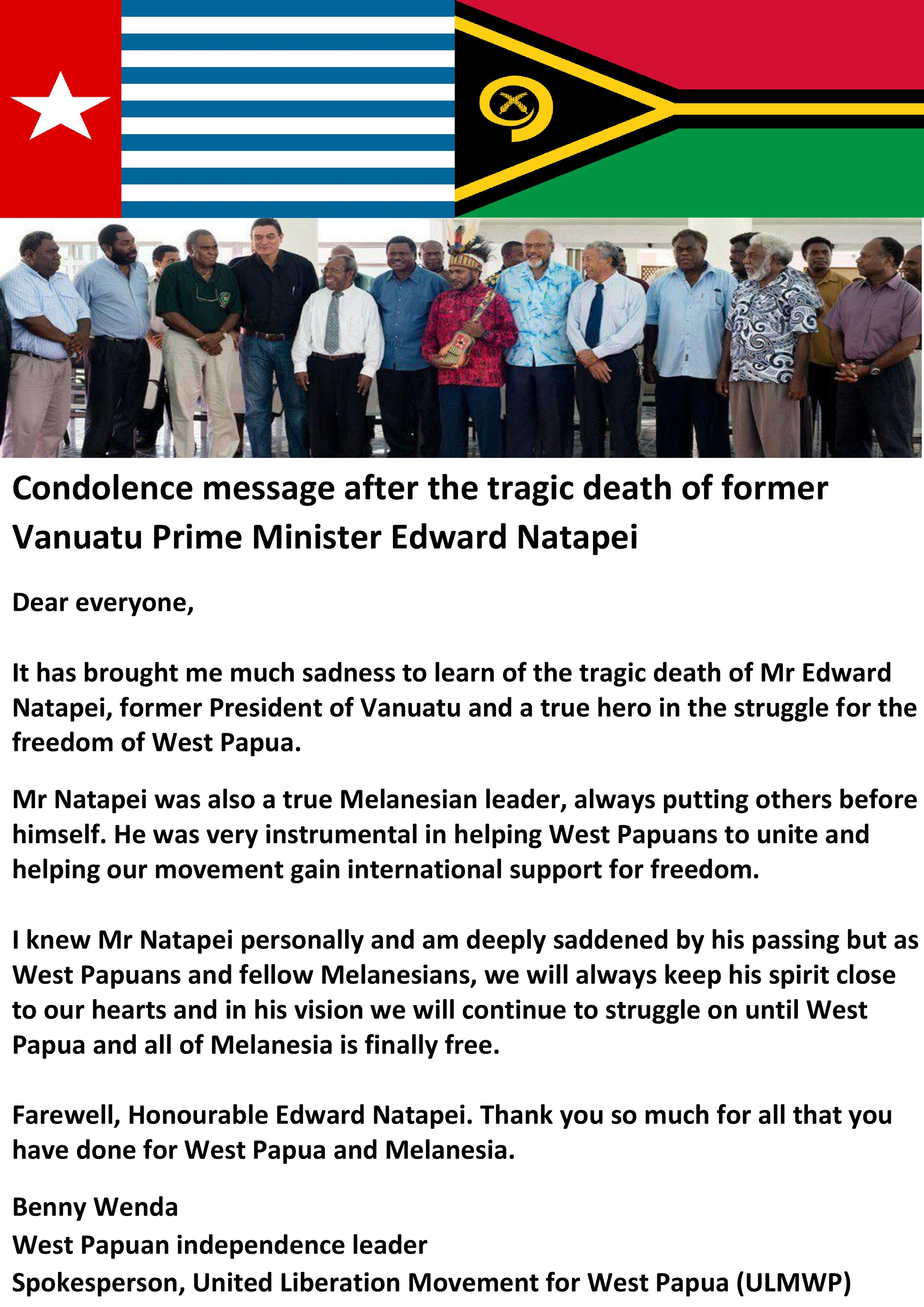 Benny Wenda letter of condolence after death of Edward Natapei-page-001 (1)