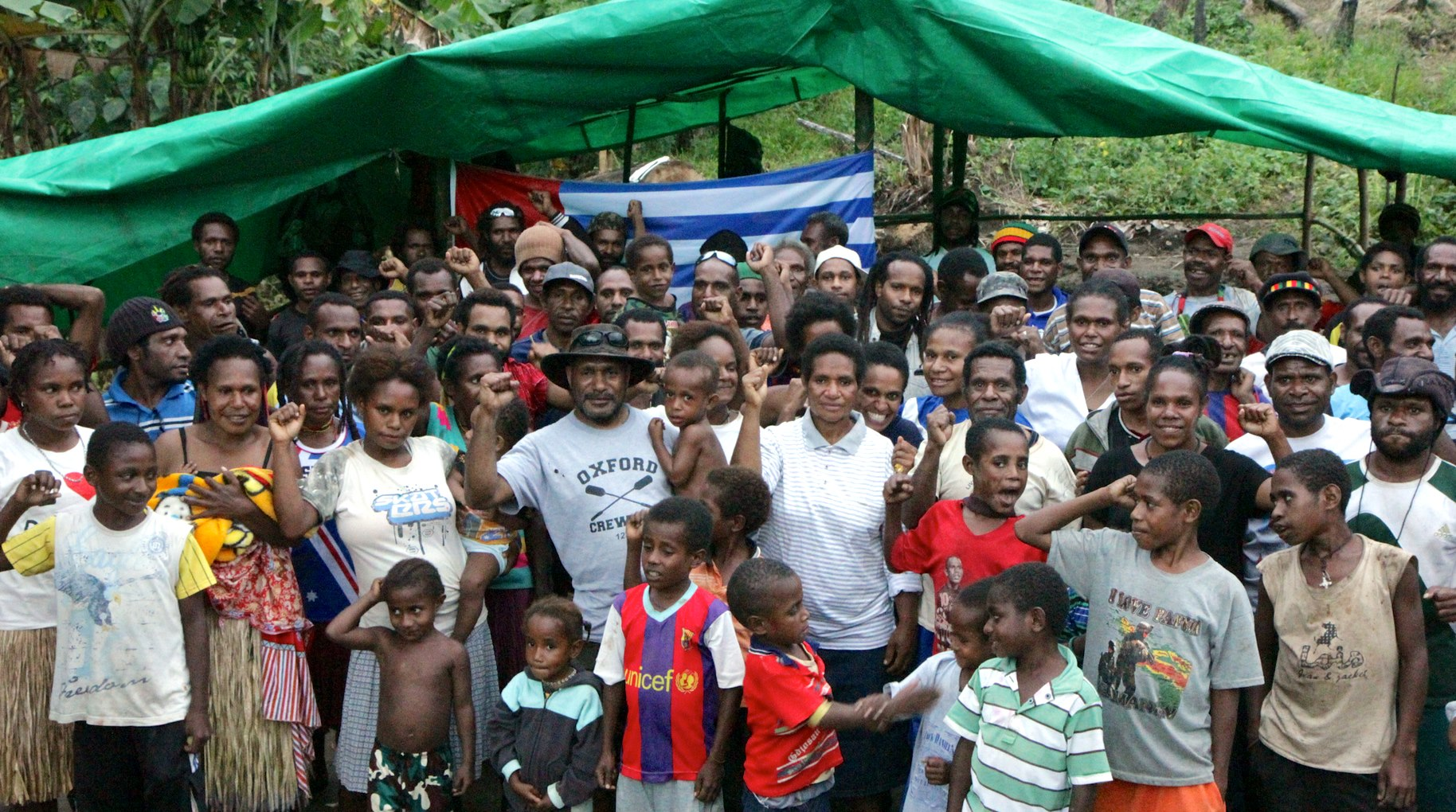 Benny Wenda with West Papuan refugees near Vanimo in 2013