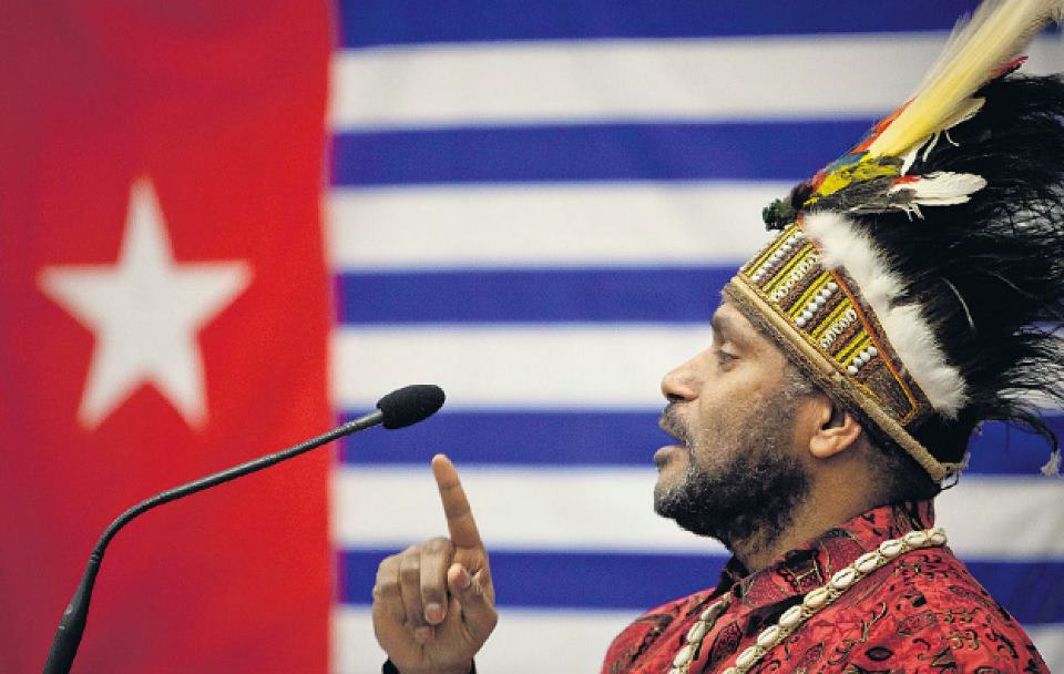 Benny Wenda talking about the West Papuan freedom struggle
