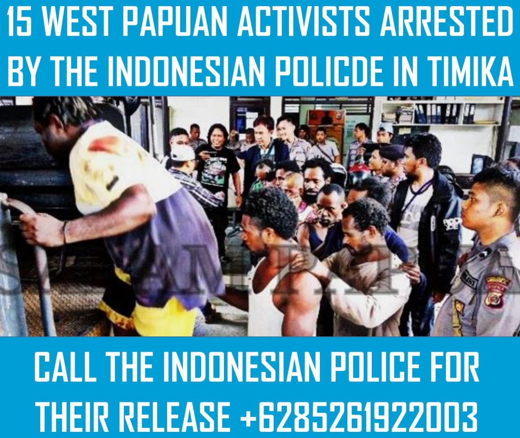 Please call the local Head of the Indonesian police in Timika, West Papua and call for the release of the West Papuan activists.