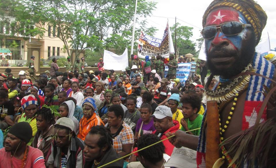 West Papuan people rallying for freedom today in Port Numbay/Jayapura