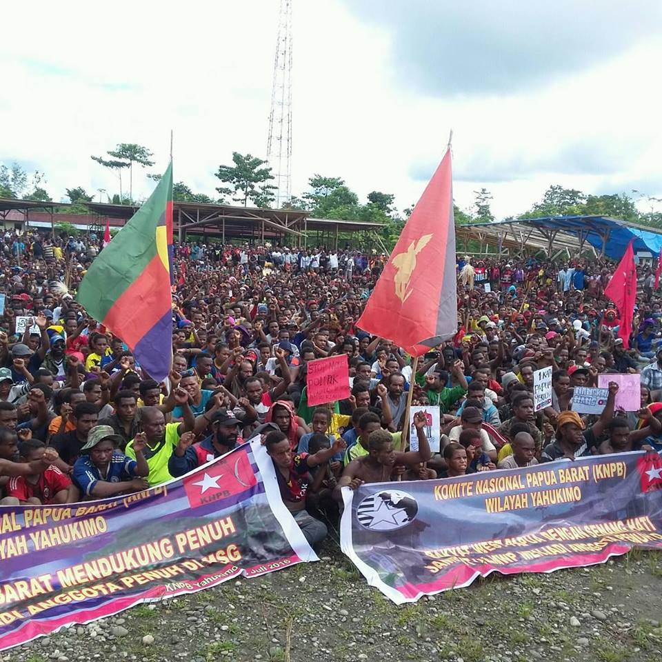 Around 3000 people in Yahukimo, West Papua attended this mass rally supporting West Papua's full membership of the Melanesian Spearhead Group