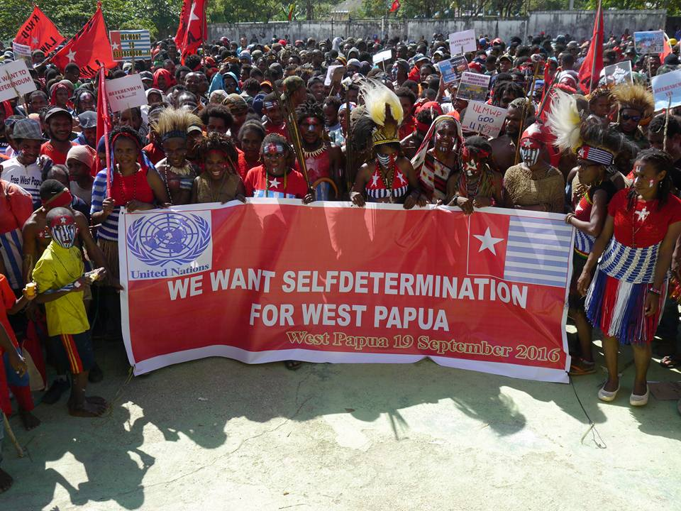 West Papuan people in the capital city of Port Numbay (Jayapura) rally to show their thanks to fellow Pacific Island nations and to call for self-determination.
